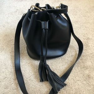 Neiman Marcus Black Leather Drawstring Bucket Bag